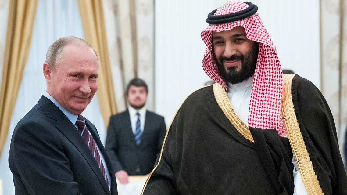 Russian President Vladimir Putin with Saudi Crown Prince Mohammed bin Salman during a meeting at the Kremlin in Moscow on May 30, 2017. (AFP)