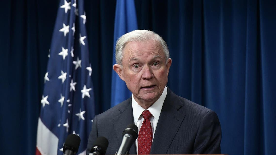 Attorney General Jeff Sessions speaks on visa travel at the US Customs and Border Protection Press Room in the Reagan Building on March 6, 2017 in Washington, DC. (AFP)