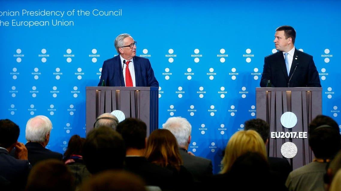 President of the EU Commission Jean-Claude Juncker (left) and Estonia's Prime Minister Juri Ratas at a news conference in Tallinn, Estonia, June 30, 2017. (Reuters)