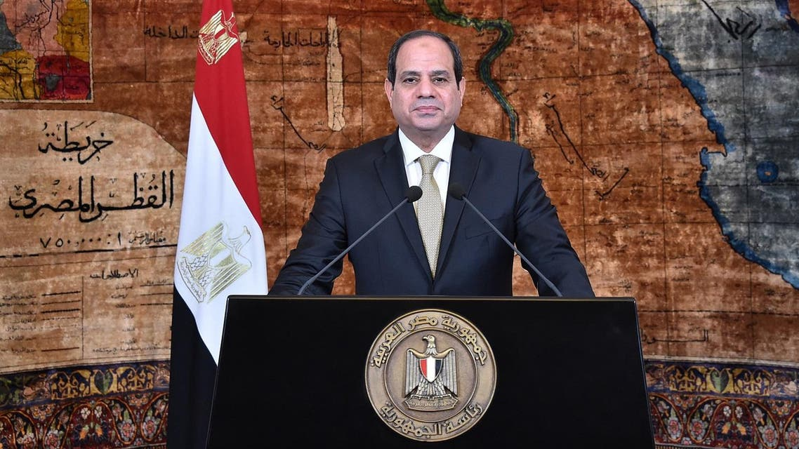 Egyptian President Abdel Fattah al-Sisi speaking in a televised address commemorating the revolution, in the capital Cairo. (AFP)