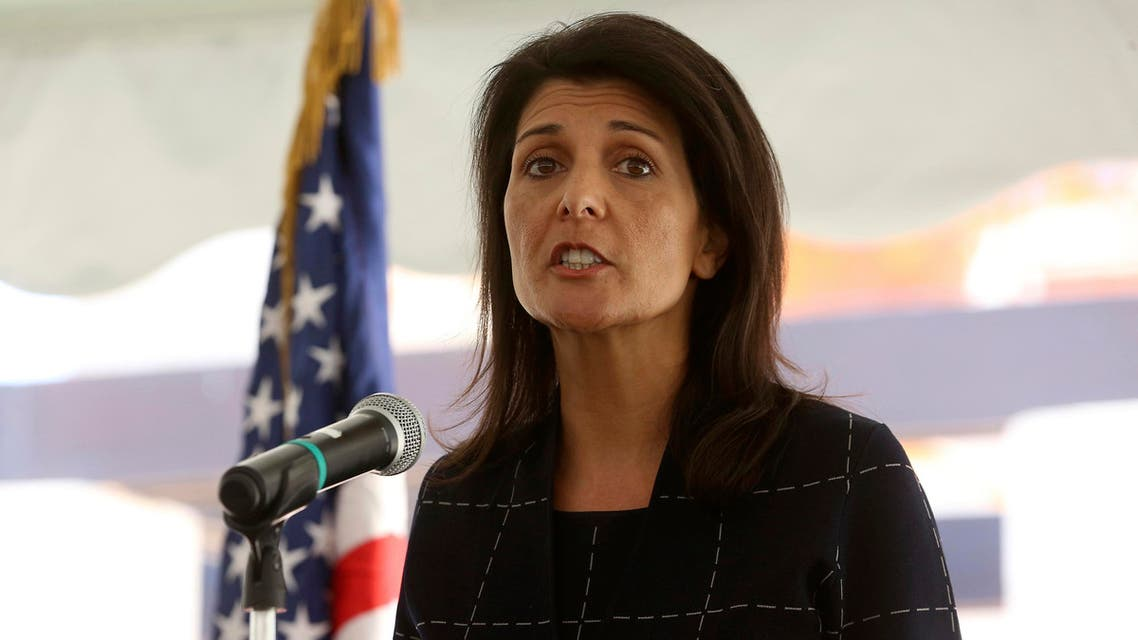 Nikki Haley, the U.S. ambassador to the United Nations , speaks to a crowd of US foreign service members at the American embassy in Amman, Jordan on Monday, May 22, 2017. (AP