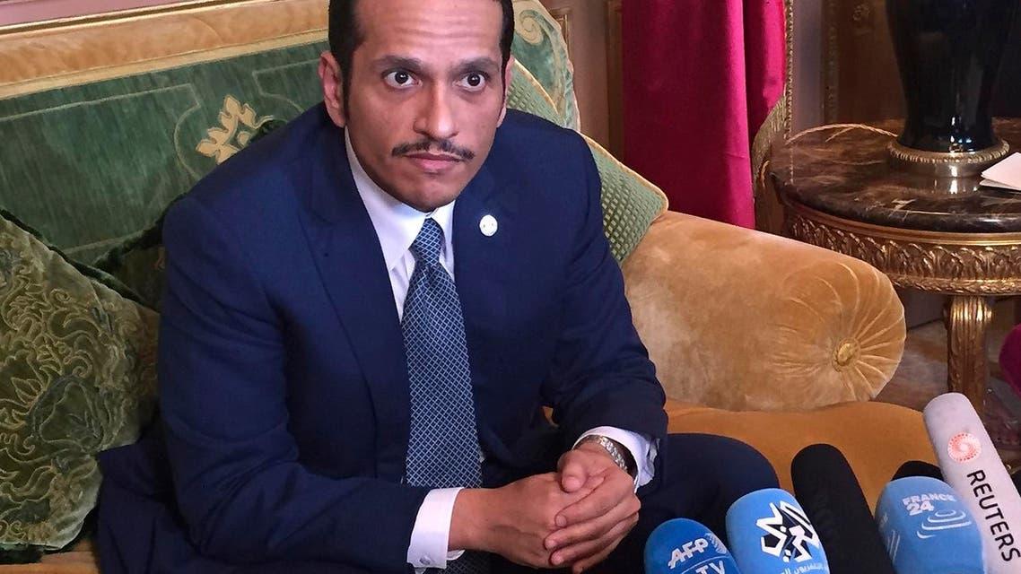 Qatari Foreign Minister Sheikh Mohammed bin Abdulrahman Al Thani speaks to the media at the Qatari Embassy in Paris, on  June 12, 2017. (AP)