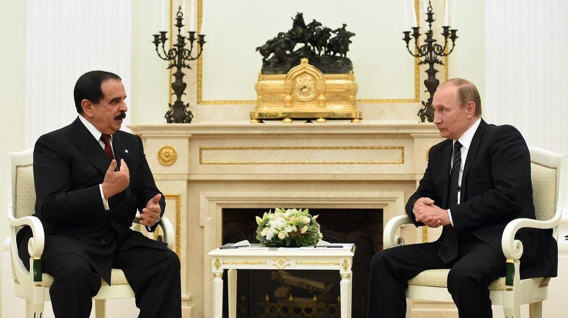 Russian President Vladimir Putin, right, and the King of Bahrain Hamad bin Isa Al Khalifa speak during their meeting in the Kremlin in Moscow, Russia, Tuesday, Sept. 6, 2016. (Vasily Maximov/Pool Photo via AP)