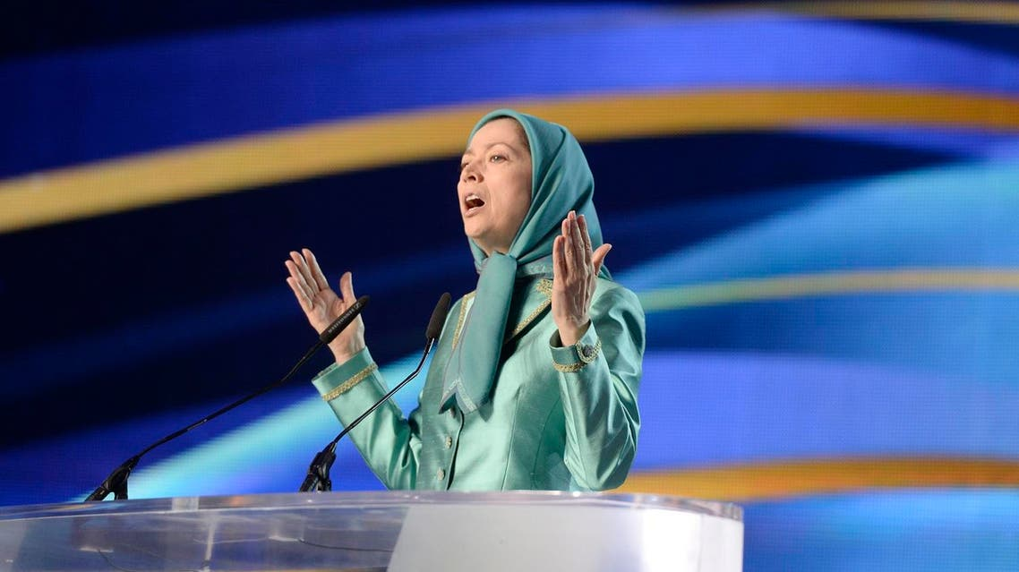 "President of the National Council of Resistance of Iran (CNRI) Maryam Radjavi gestures while speaking during the National Council of Resistance of Iran (CNRI) annual meeting on July 9, 2016, in Le Bourget, near Paris. The National Council of Resistance of Iran (CNRI) drew up a statement on July 9 declaring ""failure"" one year after the historic Iranian nuclear program agreement, saying the country had been pushed into recession and isolated from neighbors. AFP"