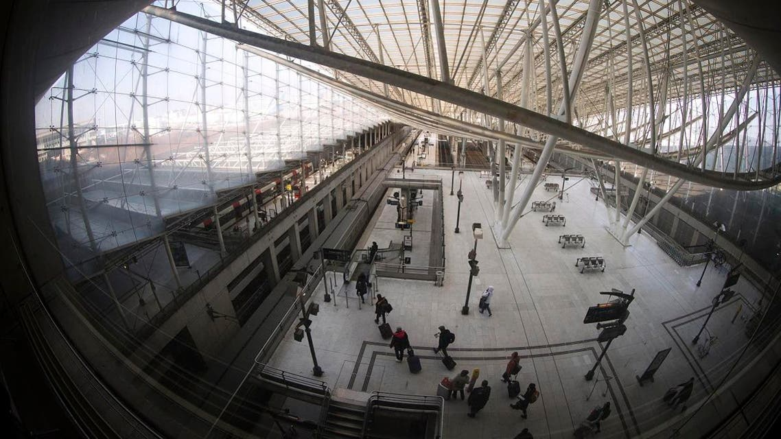 This file photo taken on February 11, 2015 shows travellers walking at the TGV train station of Paris Charles de Gaulle Airport in Roissy in a northeastern suburb of Paris. (AFP)