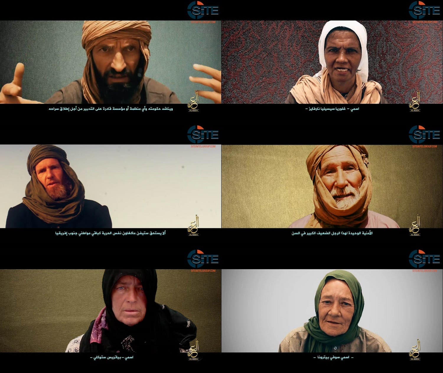 This combination of pictures created on July 2, 2017 shows video grabs provided by the SITE Intelligence Group showing six hostages held by Al-Qaeda's Mali branch. (AFP)