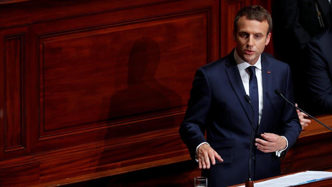 ماكرون خلال خطابه في البرلمان الفرنسي 3-7-2017