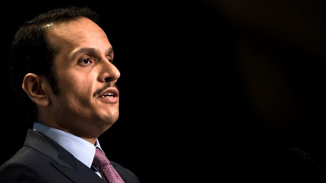 Qatar's Foreign Minister Mohammed bin Abdulrahman al-Thani speaks during a luncheon hosted by the Arab Center of Washington, DC on June 29, 2017 in Washington, DC. (AFP)