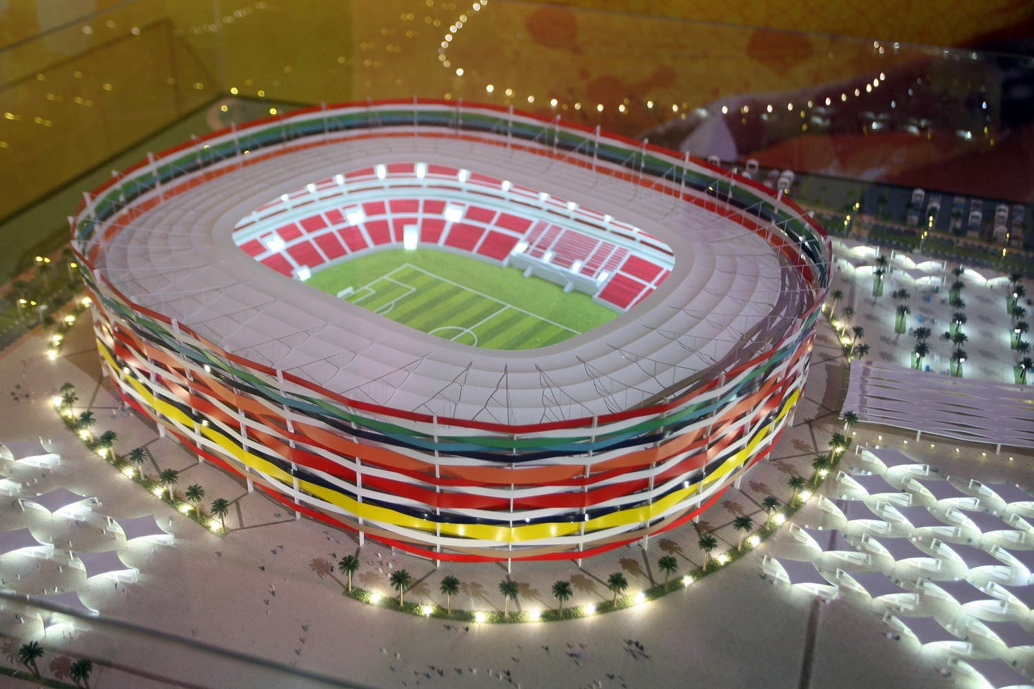 Qatar presents a model of its Al-Gharafa stadium as it bids to host the FIFA 2022 World Cup during the FIFA Inspection Tour for the country's bid, in Doha September 16, 2010 (AP Photo/Osama Faisal)
