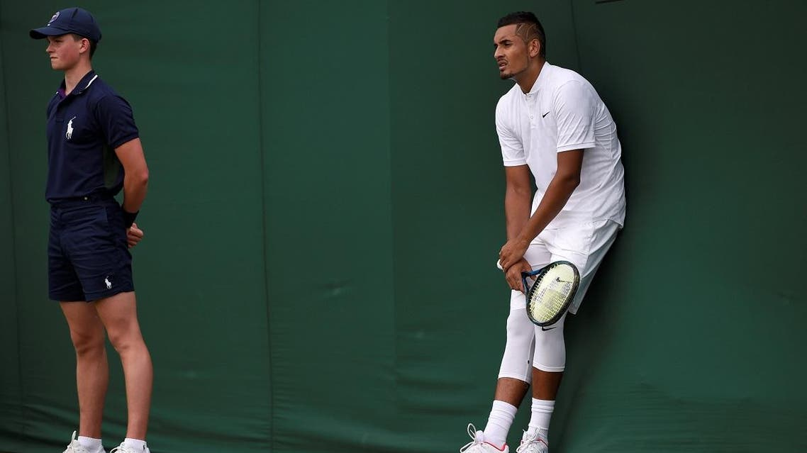 Australia's Nick Kyrgios reacts during his first round match against France's Pierre-Hugues Herbert. (Reuters)