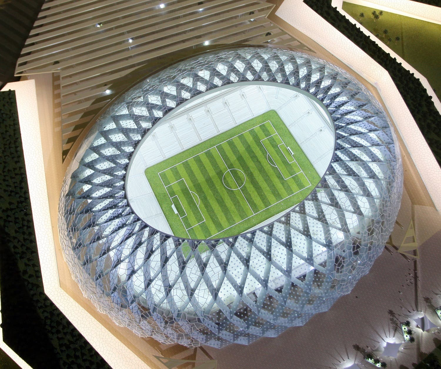 Qatar presents a model of its Al-Wakrah stadium as it bids to host the FIFA 2022 World Cup during the FIFA Inspection Tour for the country's bid, in Doha September 16, 2010 (AP Photo/Osama Faisal)