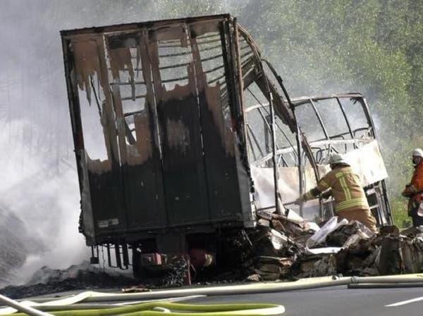 ألمانيا.. حريق في حافلة بعد حادث تصادم ومقتل 17