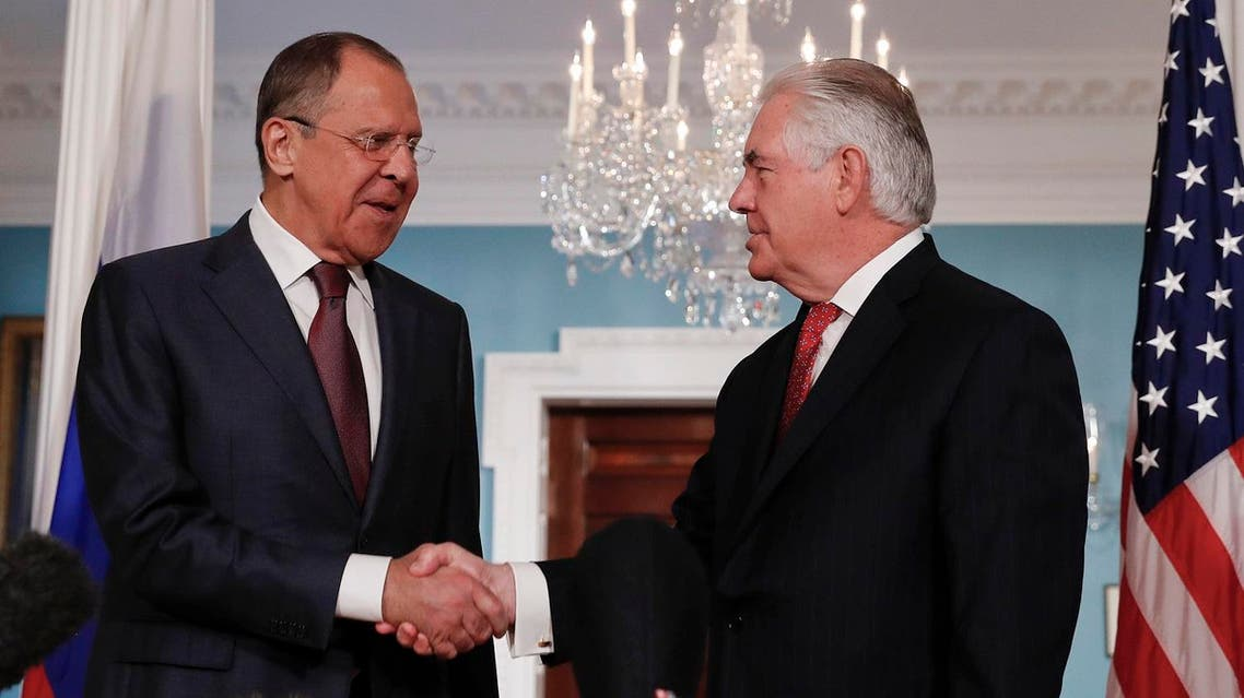 Secretary of State Rex Tillerson, right, shakes hands with Russian Foreign Minister Sergey Lavrov at the State Department in Washington, Wednesday, May 10, 2017. (AP)