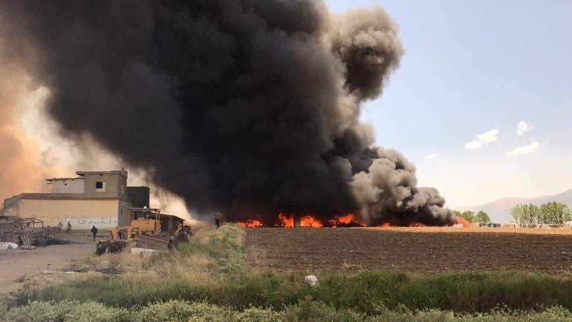 من الحريق في مخيم الرائد في البقاع لبنان