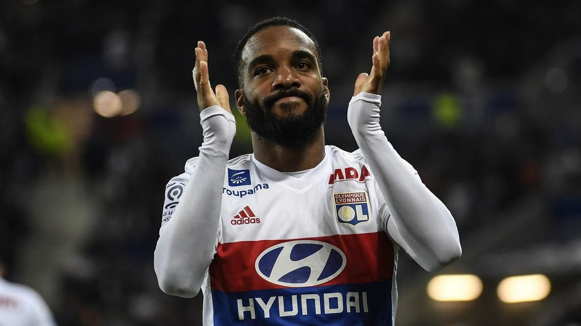 Lyon's French forward Alexandre Lacazette reacts after scoring during the French L1 football match between Lyon (OL) and Nice (OGCN) on May 20, 2017, at the Parc Olympique Lyonnais stadium in Decines-Charpieu near Lyon, central-eastern France. (AFP)