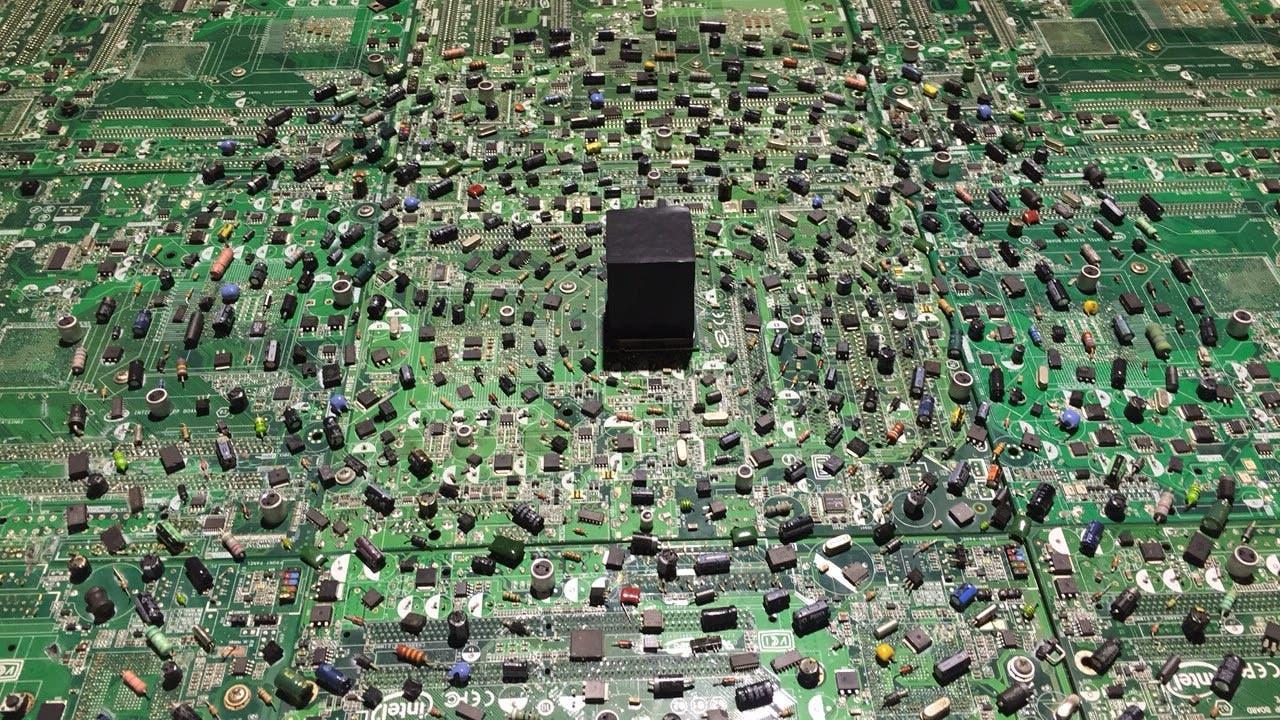 Amr Alnagmah, Digital Spirituality (detail), 2016, Mixed media installation