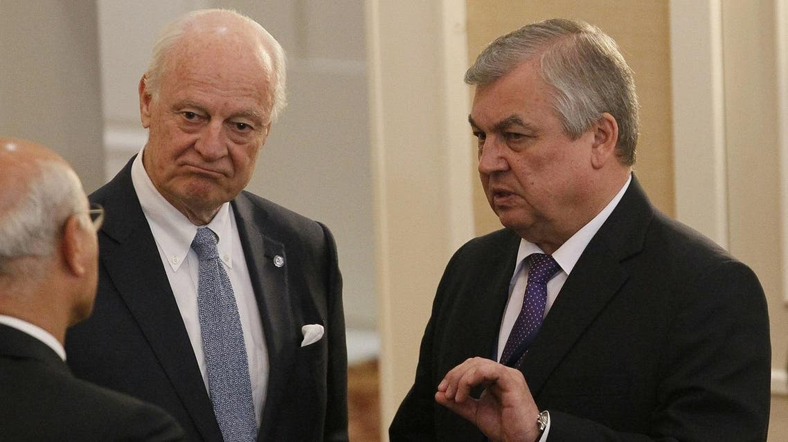 UN Special Envoy for Syria Staffan de Mistura (L) and Russian mediator Alexander Lavrentiev attend the fourth round of Syria peace talks in Astana on May 4, 2017. (AFP)