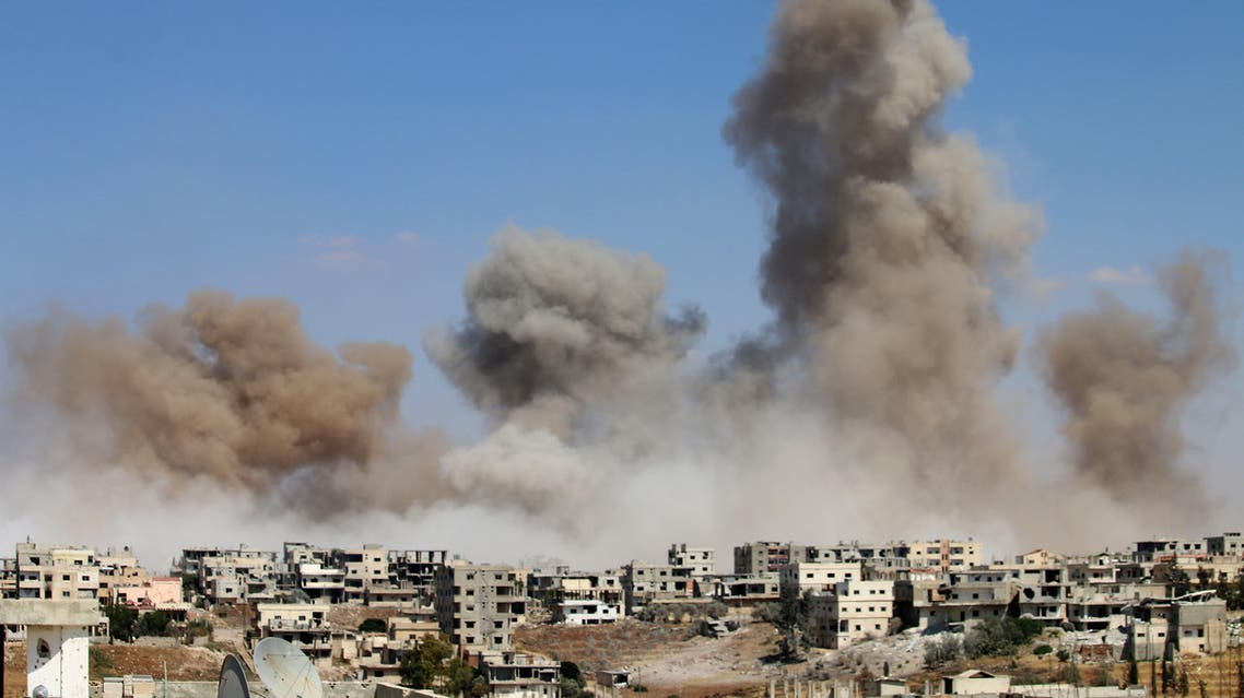 Smoke rises following a reported air strike on a rebel-held area in the southern Syrian city of Daraa, on June 22, 2017