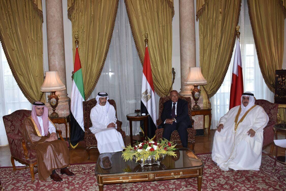 من اليمين- وزراء خارجية البحرين ومصر والإمارات والسعودية