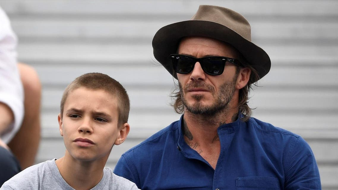 Tennis - Aegon Championships - Queen's Club, London, Britain - June 22, 2017 David Beckham and son Romeo watch the second round match between Australia's Jordan Thompson and USA's Sam Querrey Action Images via Reuters/Tony O'Brien