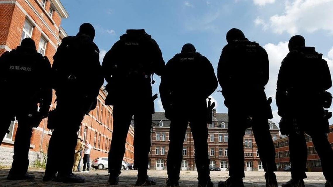 Members of Belgian police special units in Brussels on Tuesday. (Reuters)