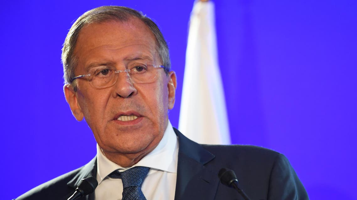 Russian Foreign Minister, Sergei Lavrov holds a joint press conference with his French counterpart following their talks on Ukraine and Syria, on July 6, 2017 at the Foreign Ministry in Paris.