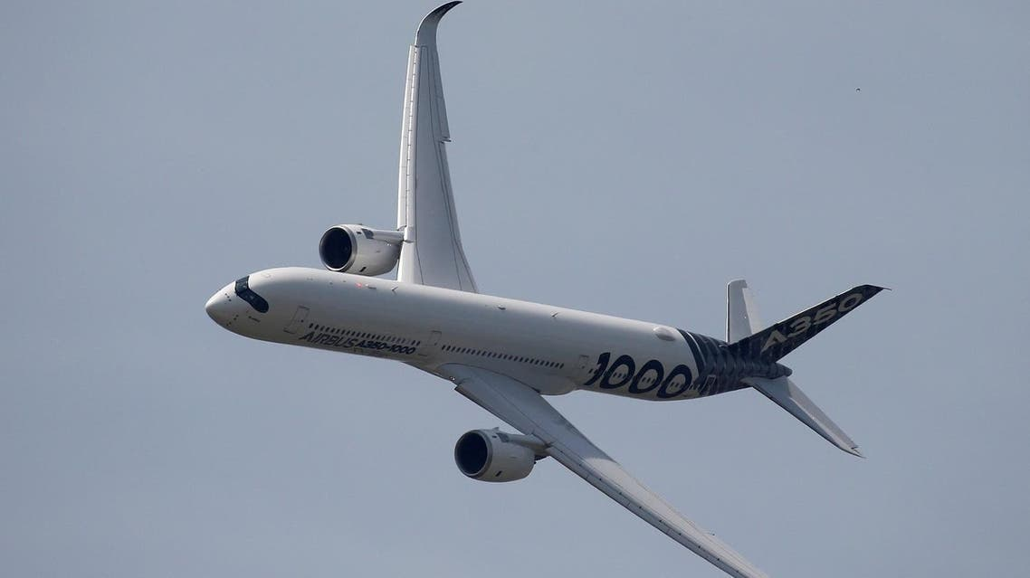 An Airbus A350-1000 taking part in a flying display during the 52nd Paris Air Show at Le Bourget Airport near Paris, on June 22, 2017. (Reuters)