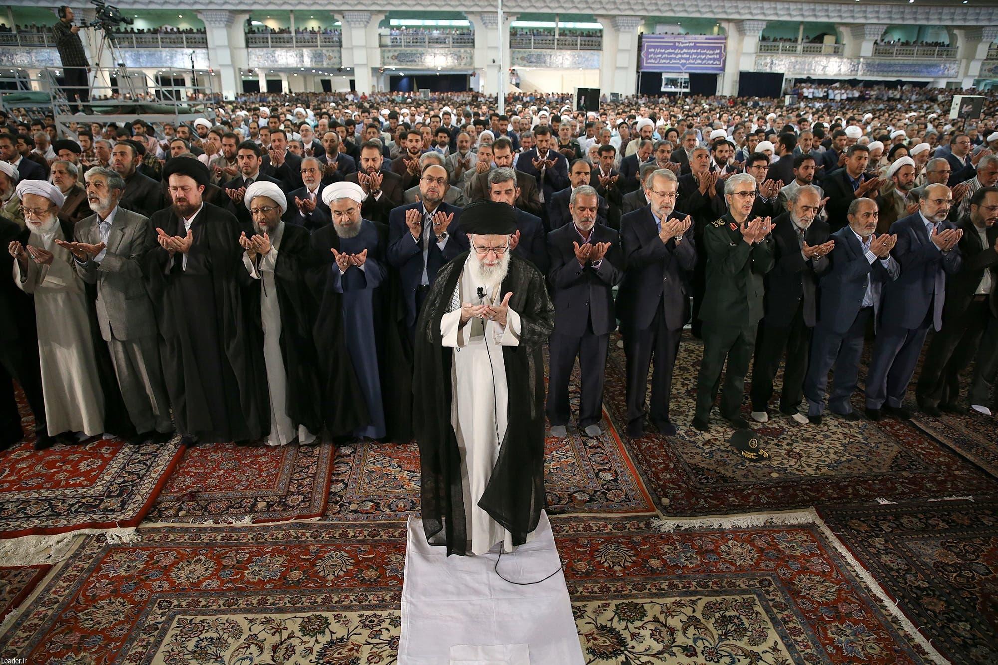 Iranian Supreme Leader Ayatollah Ali Khamenei leading the Eid al-Fitr prayers at the Imam Khomeini grand mosque in Tehran on June 26, 2017. (AFP)
