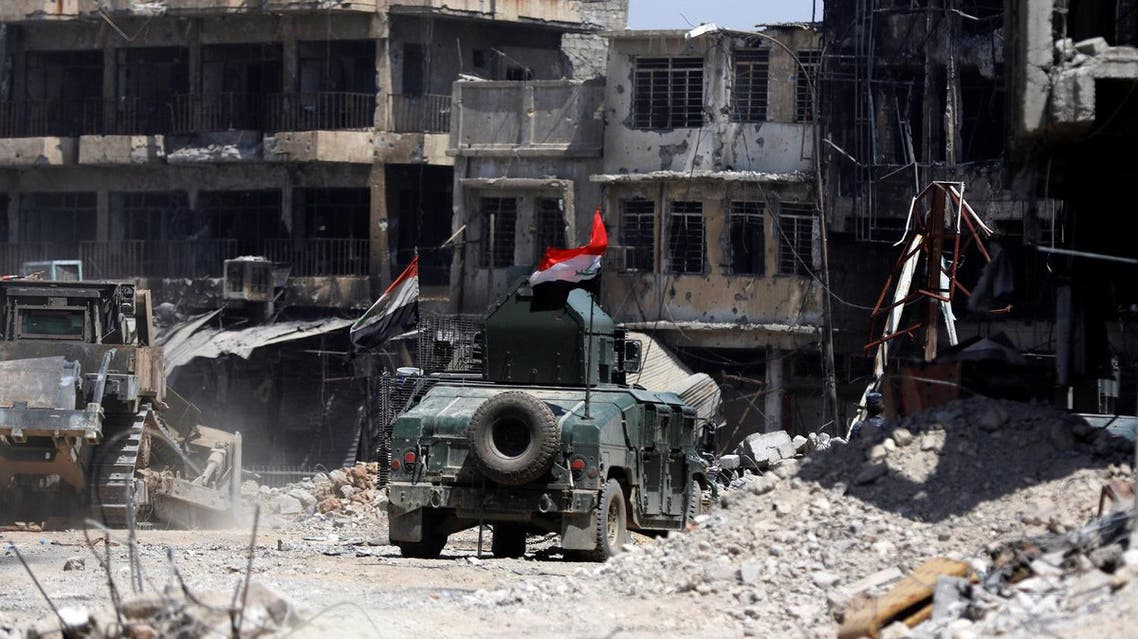 Military vehicle of Iraqi security forces are seen during fighting between Iraqi forces and Islamic State militants in the Old City of Mosul, Iraq July 6, 2017. (Reuters)