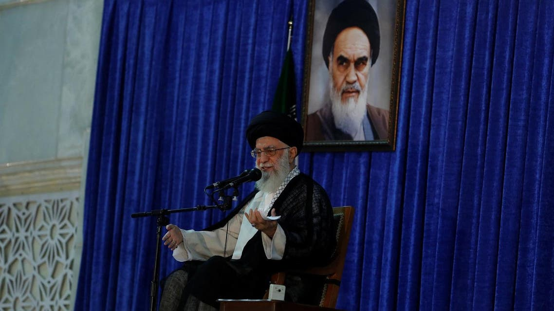 Ayatollah Ali Khamenei during a ceremony marking the death anniversary of the founder of the Islamic Republic Ayatollah Ruhollah Khomeini, in Tehran, on June 4, 2017. (Reuters)