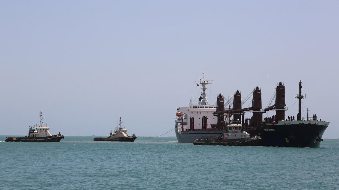 Tugboats are seen near a ship in the Red Sea port of Hodeidah, Yemen May 10, 2017. (Reuters)