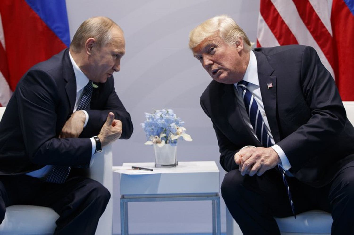 us President Donald Trump speaks during a meeting with Russian President Vladimir Putin at the G20 Summit in Hamburg on July 7, 2017. (AP)