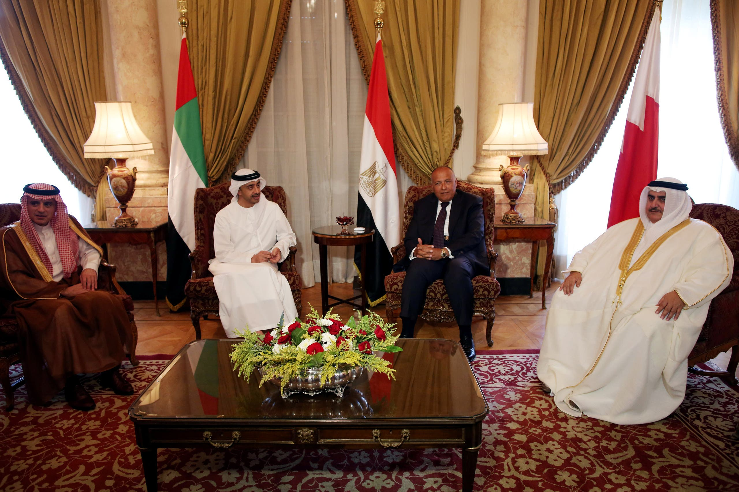 Saudi Foreign Minister Adel al-Jubeir (L), UAE Foreign Minister Abdullah bin Zayed al-Nahyan (C-L), Egyptian Foreign Minister Sameh Shoukry (C-R), and Bahraini Foreign Minister Khalid bin Ahmed al-Khalifa meet to discuss the diplomatic situation with Qatar, in Cairo, Egypt, July 5, 2017. The Foreign Ministers meetingis held after Qatar sent a formal letter of response to the 13-points list of demands to the emir of Kuwait, the main mediator in the Gulf crisis, in response to diplomatic and economic sanctions from Saudi Arabia and its allies, Egypt, the United Arab Emirates (UAE) and Bahrain on allegations that Qatar is funding extremism