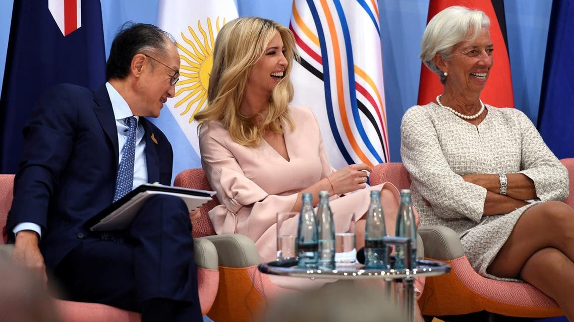 World Bank President Jim Yong Kim, Ivanka Trump and IMF Managing Director Christine attend the Women's Entrepreneurship Finance event during the G20 summit in Hamburg on July 8, 2017. (Reuters)
