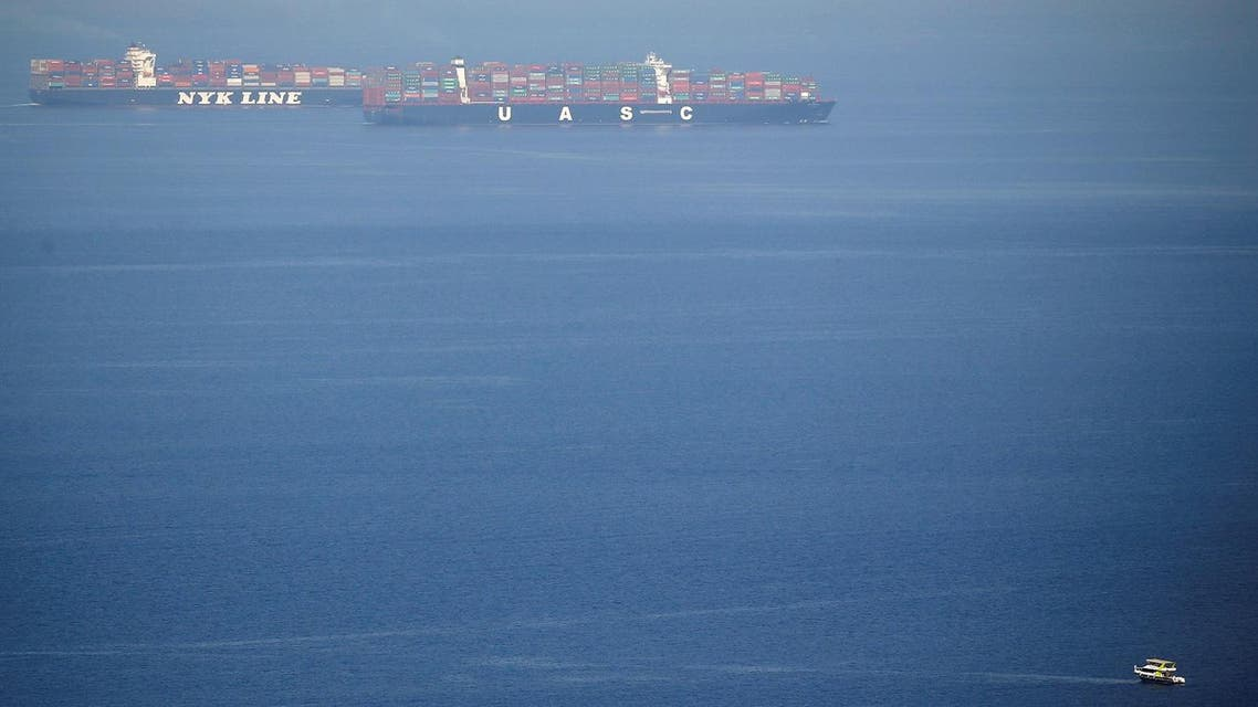 Container ships cross the Gulf of Suez towards the Red Sea before entering the Suez Canal, in El Ain El Sokhna in Suez, east of Cairo, Egypt April 24, 2017. Picture taken April 24, 2017. (Reuters)