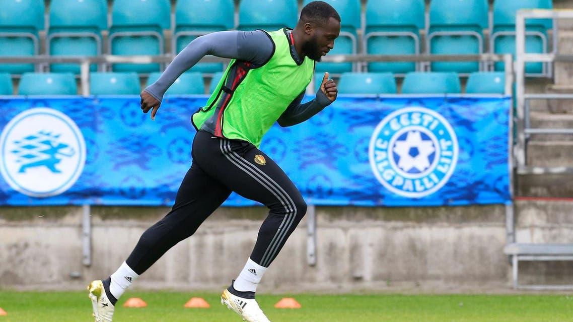 Romelu Lukaku attends a training session. (Reuters)