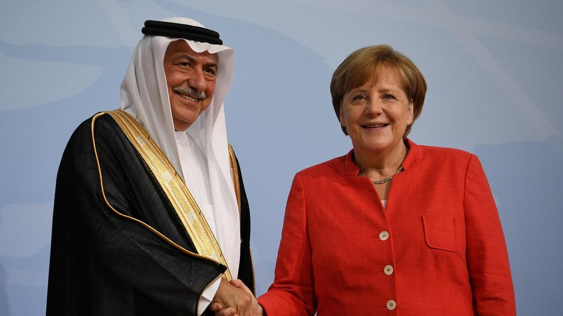 German Chancellor Angela Merkel meets Saudi Arabia Minister of State Ibrahim Abdulaziz Al-Assaf at the G20 summit in Hamburg, Germany, July 7, 2017. (Reuters)