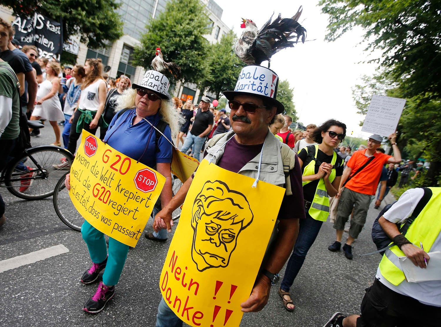 Protesters take part in a demonstration during the G20 summit in Hamburg, on July 8, 2017. (Reuters)