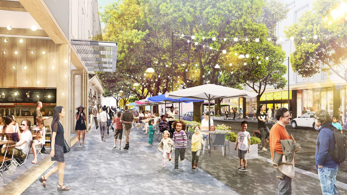 Architectural rendering of Facebook's proposed Willow Campus is seen in Menlo Park, California, U.S. in this undated photo obtained by Reuters July 7, 2017. The goal for the Willow Campus is to create an integrated, mixed-use village that will provide housing, transit solutions, office space that includes new retail space, a grocery store, pharmacy and additional community-facing retail. Facebook/Handout