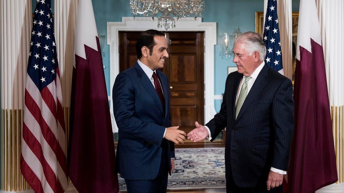 وزير الخارجية الأميركي ريكس تيلرسون مع وزير الخارجية القطري محمد بن عبد الرحمن آل ثاني في الدوحة