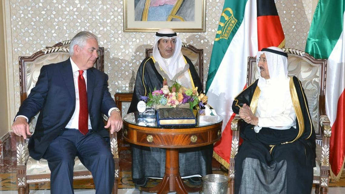 A photo provided by the Kuwaiti news agency KUNA on July 10, 2017 shows the Emir of Kuwait, Sheikh Sabah al-Ahmad al-Sabah (R), receiving US Secretary of State Rex Tillerson (L) at Bayan Palace in Kuwait City. (AFP)