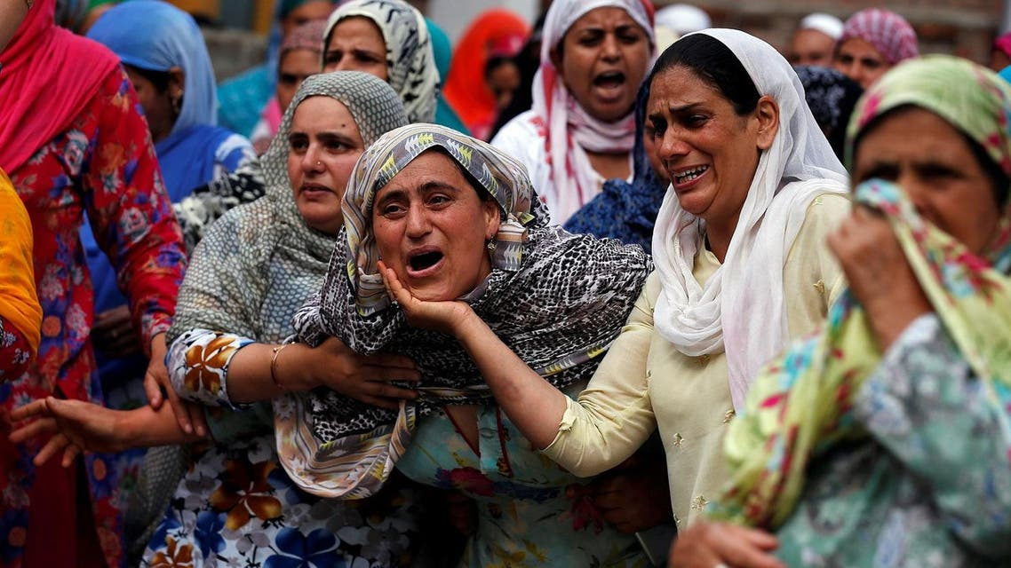 Relatives mourn during the funeral of Aaquib Gul, who according to local media, was killed in a gun battle with Indian security forces in Budgam District, Srinagar, on July 12, 2017. (Reuters)