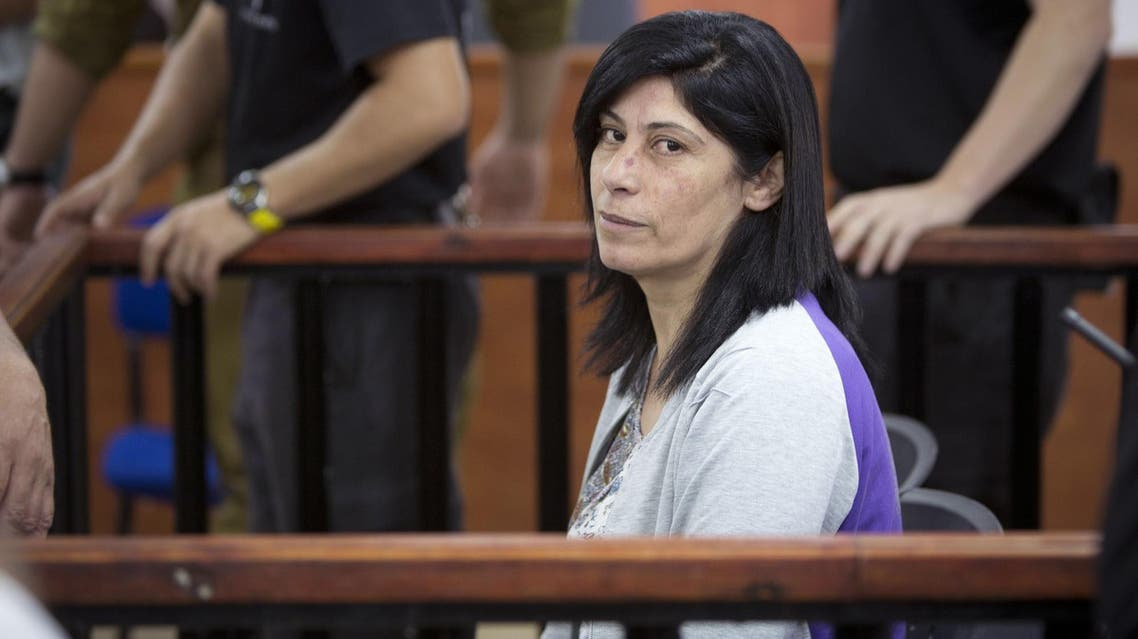 Khalida Jarrar attends a court session at the Israeli Ofer military base near the West Bank city of Ramallah, Thursday, May 21, 2015. (AP)
