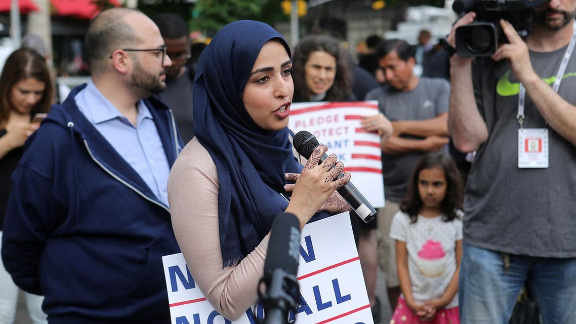 Activist Widad Hassan speaks at a protest against US President Donald Trump's limited travel ban, approved by the US Supreme Court, in New York City on June 29, 2017. (Reuters)