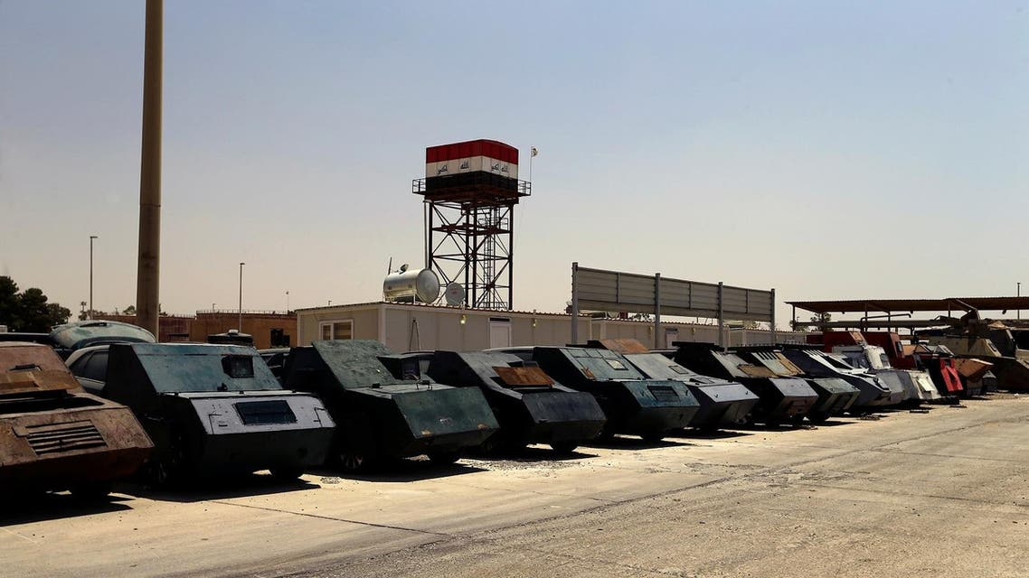 Vehicles used for suicide car bombings, made by Islamic State militants, are seen at Federal Police Headquarters after being confiscated in Mosul, Iraq July 13, 2017. (Reuters)