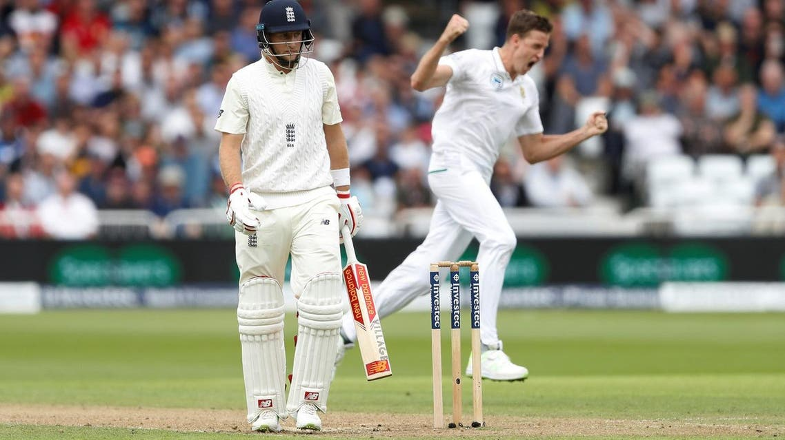 South Africa's Morne Morkel celebrates taking the wicket of England's Joe Root during the second Test at  Nottingham, on July 15, 2017. (Reuters)