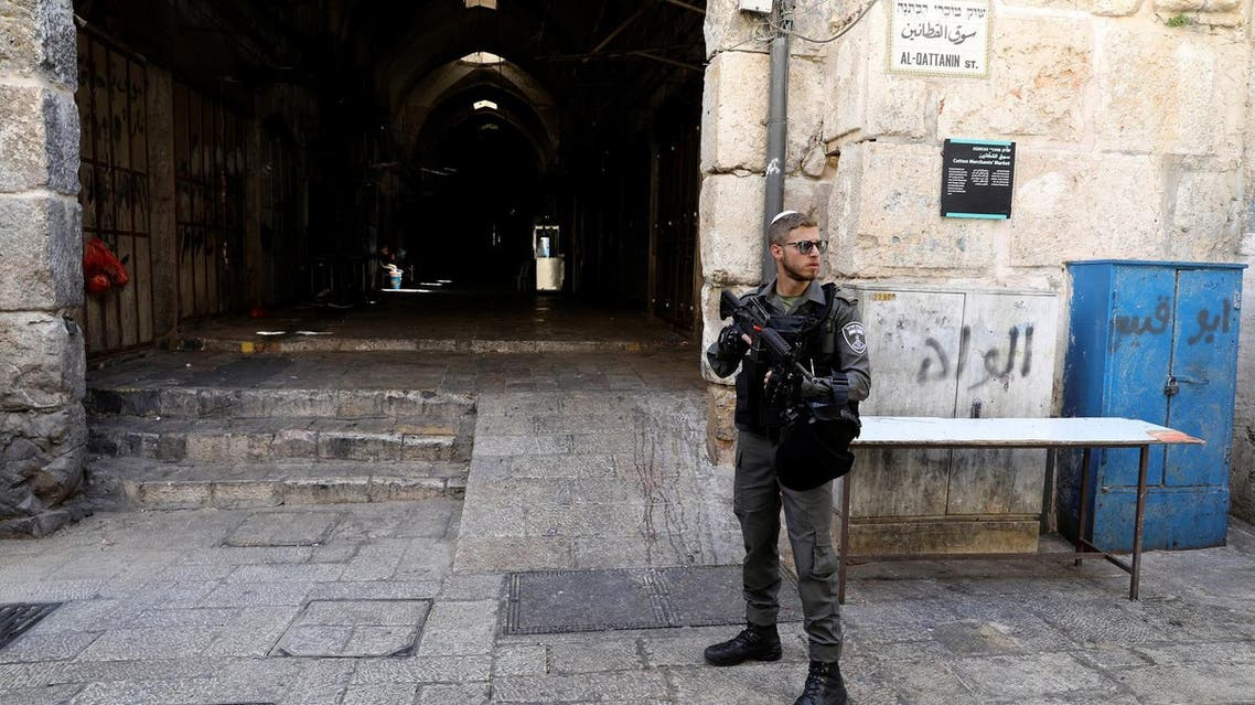 An Israeli border policeman secures the entrance to the compound known to Muslims as Noble Sanctuary in Jerusalem's Old City on July 14, 2017. ( Reuters)