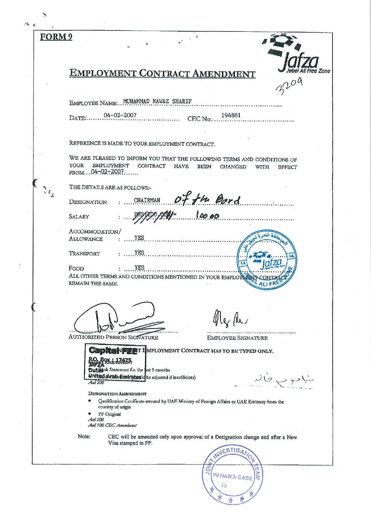 Documents show Nawaz Sharif listed as UAE employee while serving as Pakistan PM