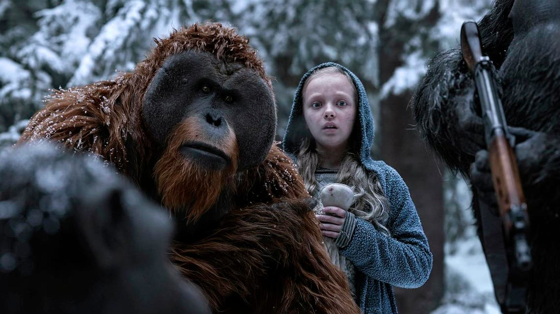"""This image released by Twentieth Century Fox shows Karin Konoval, left, and Amiah Miller in """"War for the Planet of the Apes."""" (Twentieth Century Fox via AP)"""