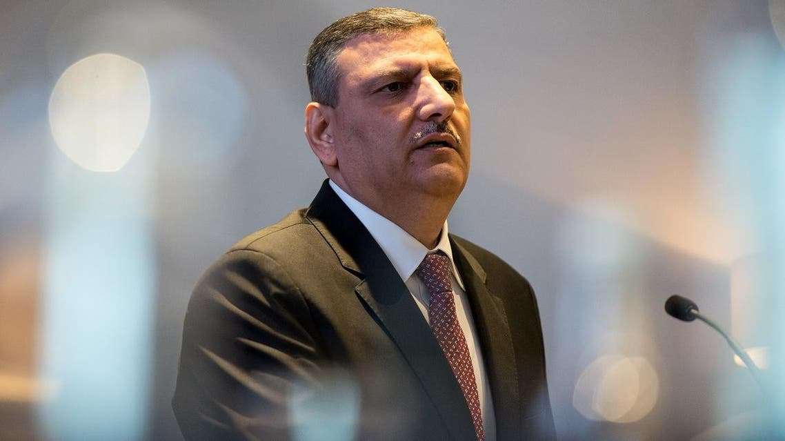Riyad Hijab, General Co-ordinator of the High Negotiations Committee (HNC) speaks at a press conference in central London on September 7, 2016. (AFP)